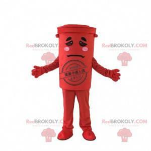 Rød søppel maskot, søppel dumpster kostyme, resirkulering -