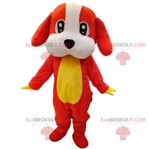 Red, white and yellow dog mascot, canine costume -