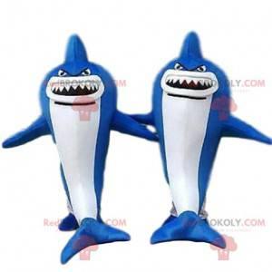 2 maskotki niebiesko-białych rekinów, niebezpieczne zwierzę -