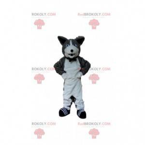 Šedý a bílý psí maskot, chovatelská stanice - Redbrokoly.com