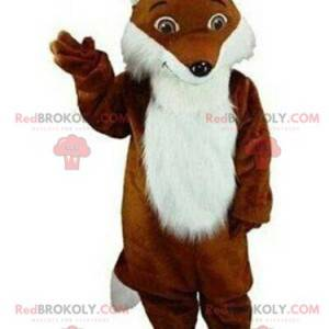 Braunes und weißes Fuchsmaskottchen, haariges Fuchs Kostüm -
