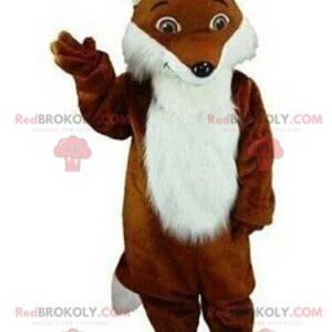 Maskot hnědé a bílé lišky, chlupatý, liščí kostým -