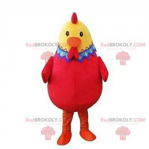 Maskot červená a žlutá slepice, velmi úspěšný a barevný -