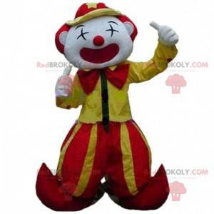 Mascote palhaço amarelo e vermelho, mascote de circo -