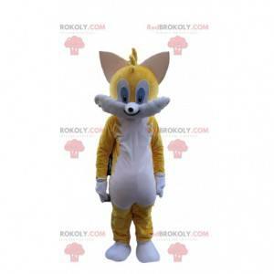 Maskot žluté kočky, barevný kostým kočky, obří kočka -