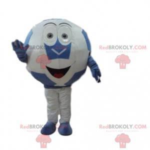 Blue and white ball mascot, giant soccer ball - Redbrokoly.com