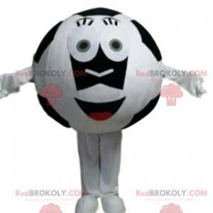 Maskot černobílý fotbalový míč, obří fotbalový míč -