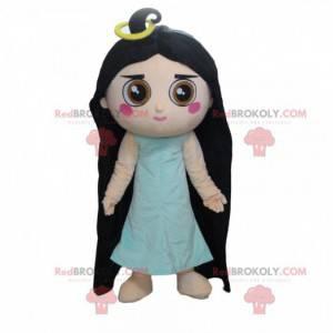 Maskot dívka s dlouhými vlasy, kostým žena - Redbrokoly.com
