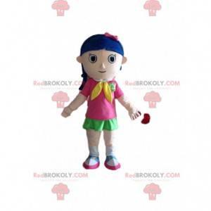 Little girl mascot, schoolgirl costume, young girl -