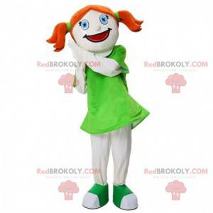 Maskotka rudowłosa dziewczyna, kostium dziewczyny, dziewczyna -