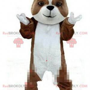 Hnědý a bílý psí maskot, čistokrevný psí kostým - Redbrokoly.com