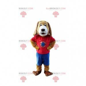 Maskot psa oblečený v barevném oblečení, psí kostým -
