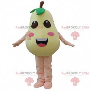 Maskottchen gelbe Birne, Obstkostüm, gelbe Frucht -