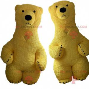 2 yellow bear mascots, inflatable, giant yellow bear costumes -