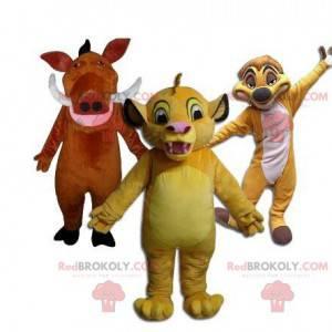 3 Maskottchen, Timon, Pumba und Simba aus dem Cartoon Der König