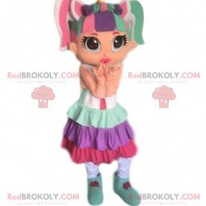 Mascot fargerik jente, veldig fargerik jente kostyme -
