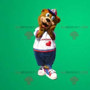 Medvěd hnědý maskot s modrýma očima - Redbrokoly.com