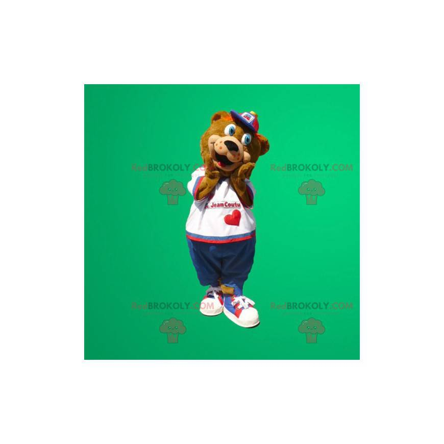 Brown bear mascot with blue eyes - Redbrokoly.com