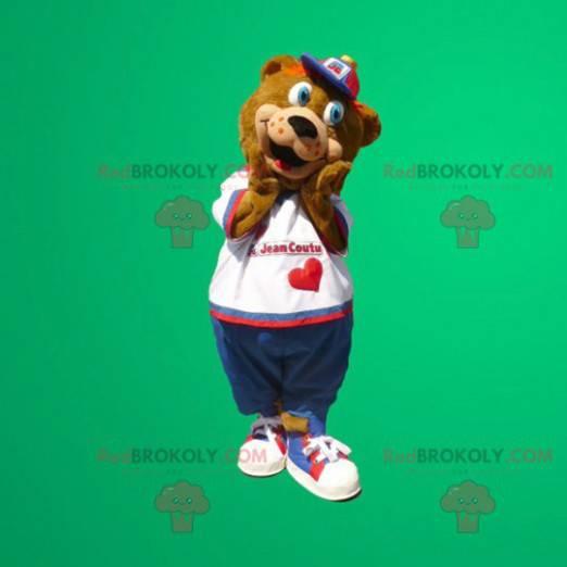 Brun bjørnemaskot med blå øyne - Redbrokoly.com