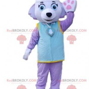 Psí maskot ve fialovém oblečení. Barevný kostým fenky -