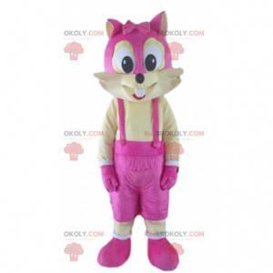Maskot žluté a růžové veverky, barevný kostým lišky -