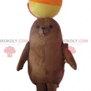 Brown sea lion mascot, sea lion costume, aquatic animal -