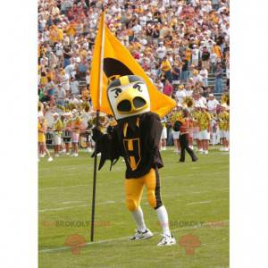 Žlutá bílá a černá pták maskot - Redbrokoly.com
