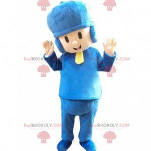 Chlapec maskot oblečený v modré barvě s víčkem - Redbrokoly.com