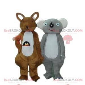 Mascotte di canguro e koala, costumi australiani -