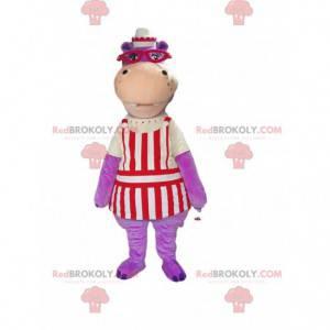 Mascotte viola dell'ippopotamo vestita come cameriere -