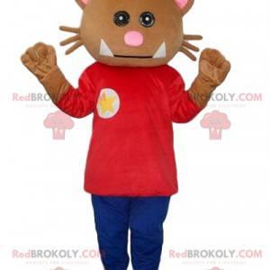 Kot maskotka, ubrany brązowy kostium kota - Redbrokoly.com