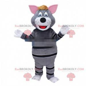 Graues Katzenmaskottchen, graues und schwarzes Katzenkostüm -