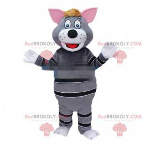 Gray cat mascot, gray and black cat costume - Redbrokoly.com
