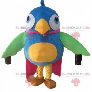 Big colorful bird mascot, multicolored bird costume -