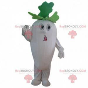 Hvit og grønn kålrot maskot, grønnsakskostyme - Redbrokoly.com