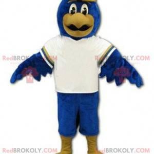 Sportadler-Maskottchen, blaues Vogelkostüm, Riesenvogel -