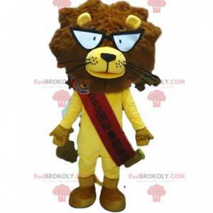 Löwenmaskottchen mit Brille, gelbes Löwenkostüm - Redbrokoly.com