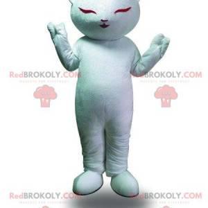 Weißes Katzenmaskottchen, Meditationskostüm, Zen-Kostüm -