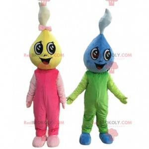 2 mascots of colorful water drops, colorful costumes -