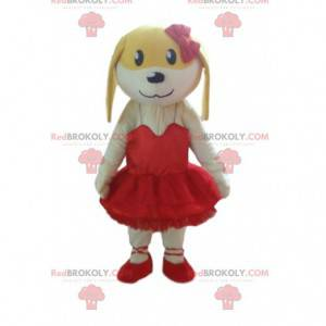 Yellow and white dog mascot in pink, bitch costume -