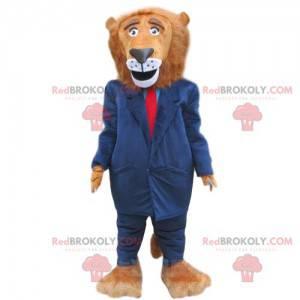Maskot Lion oblečený v modrém kostýmu, elegantní kostým -