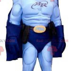 Maskot superhrdiny v modrém oblečení - Redbrokoly.com