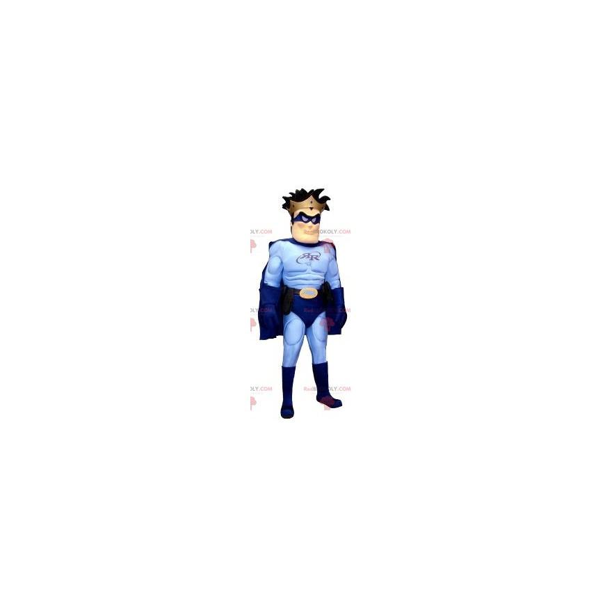 Superhelden-Maskottchen im blauen Outfit - Redbrokoly.com