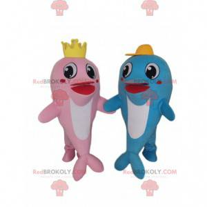 Dolphin mascots, a pink and a blue, couple of dolphins -