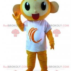 Oransje ape maskot med en hvit t-skjorte, fargerik sjimpanse -