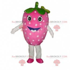 Maskot růžová jahoda, jahodový kostým, červené ovoce -