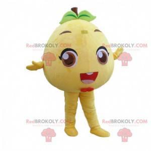 Maskot žlutého grapefruitu, kulatý ovocný kostým -