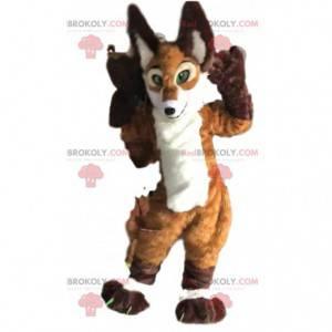 Braunes und weißes Fuchsmaskottchen, sehr realistisch -