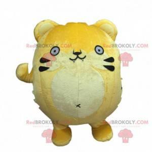 Big yellow cat mascot, all round costume, yellow animal -