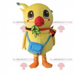 Velký žlutý pták maskot, kanárek kostým, žluté dítě pták -